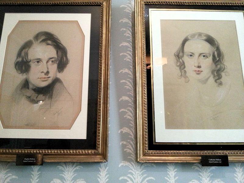 """Charles Dickens à esquerda e Catherine Thomson """"Kate"""" Dickens à direita  (Foto: Dickens Museum)"""