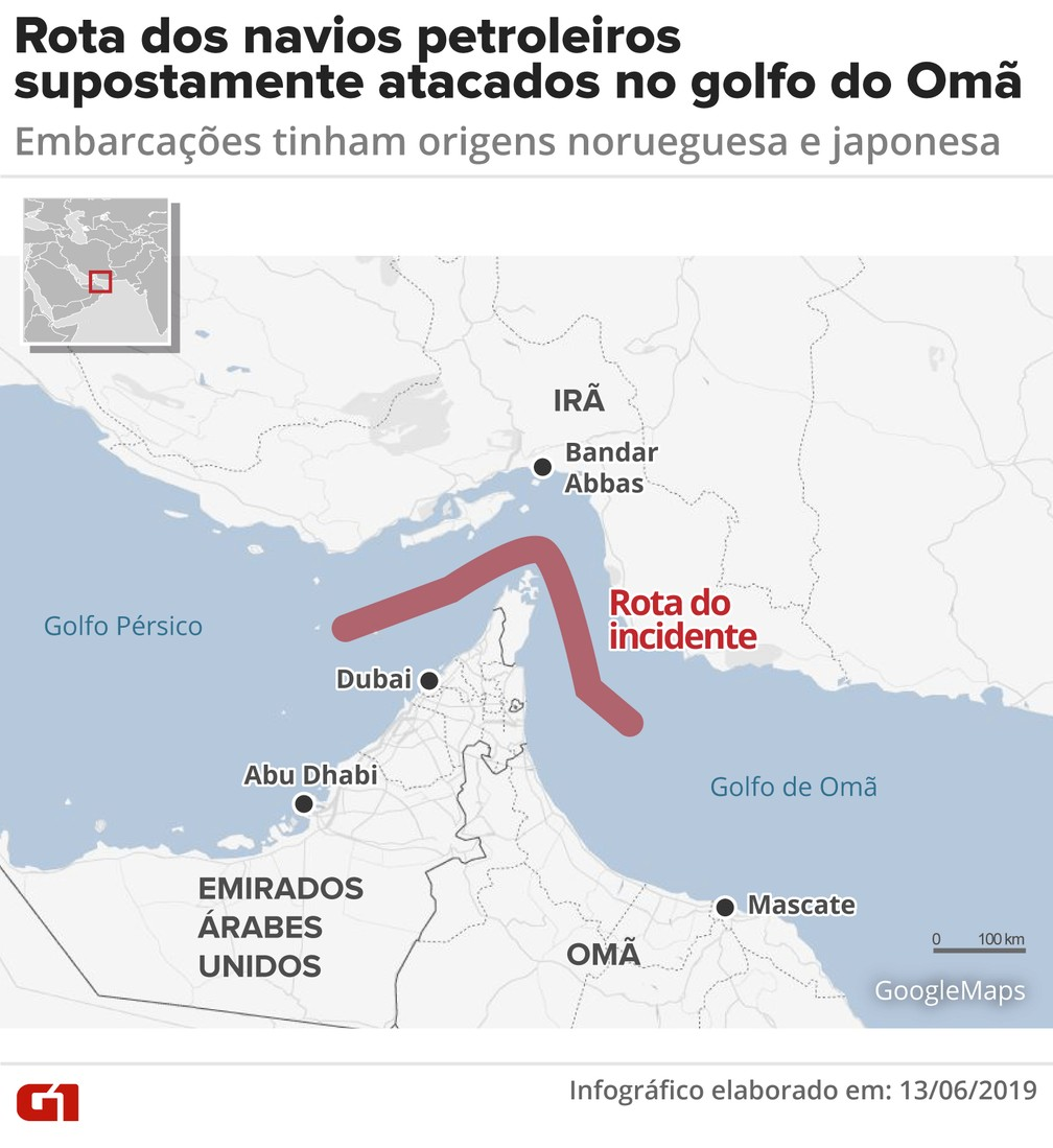 Rota dos navios que teriam sido atacados na emana passada (13). — Foto: Juliane Monteiro/G1