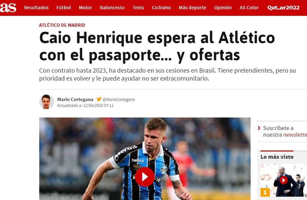 Jornal AS traz informações sobre futuro de Caio Henrique — Foto: Reprodução