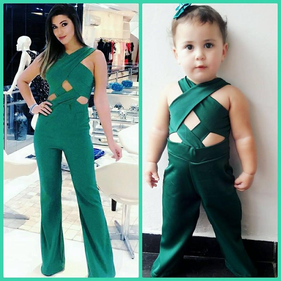 Alice usa look igual ao da ex-BBB e apresentadora Vivian Amorim — Foto: Facebook/Reprodução