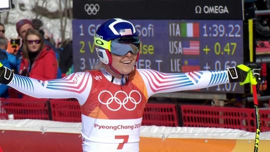 Em prova com quedas, Lindsey Vonn se despede do downhill com bronze e chora