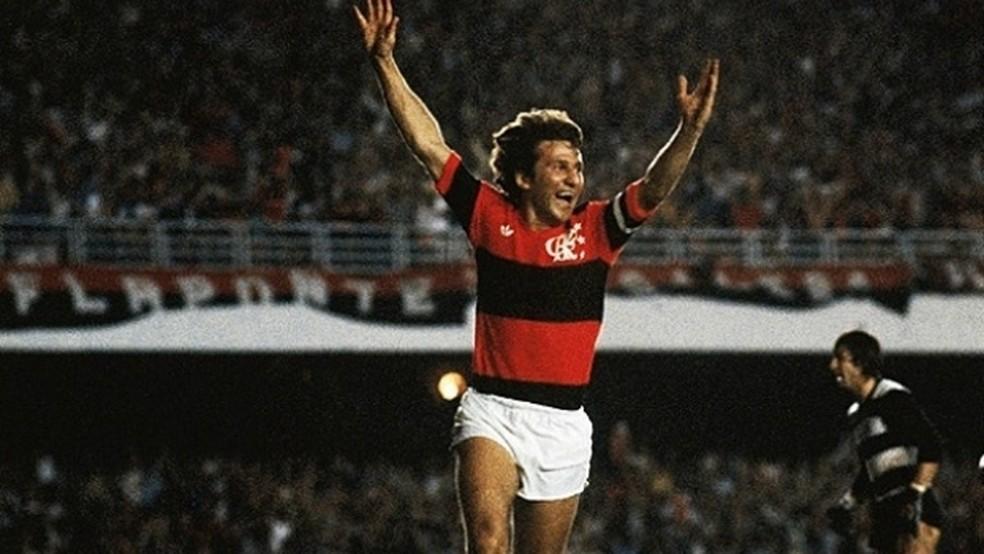 Zico foi campeão da Libertadores pelo Flamengo em 1981 — Foto: Divulgação