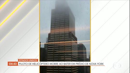 Piloto de helicóptero morre após aeronave bater em prédio de Nova York, nos EUA
