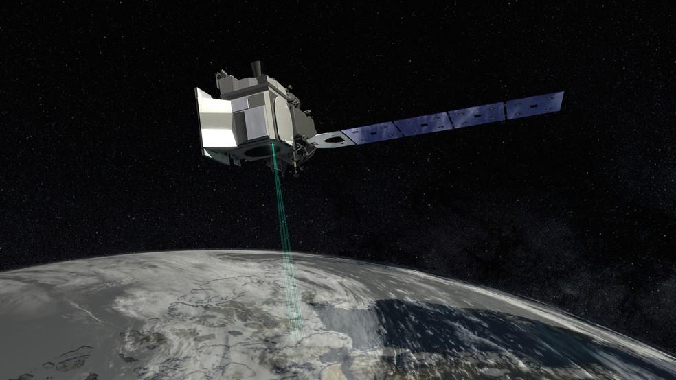 Representação artística do ICESat-2, cujas informações são utilizadas para este estudo — Foto: NASA Goddard/Divulgação