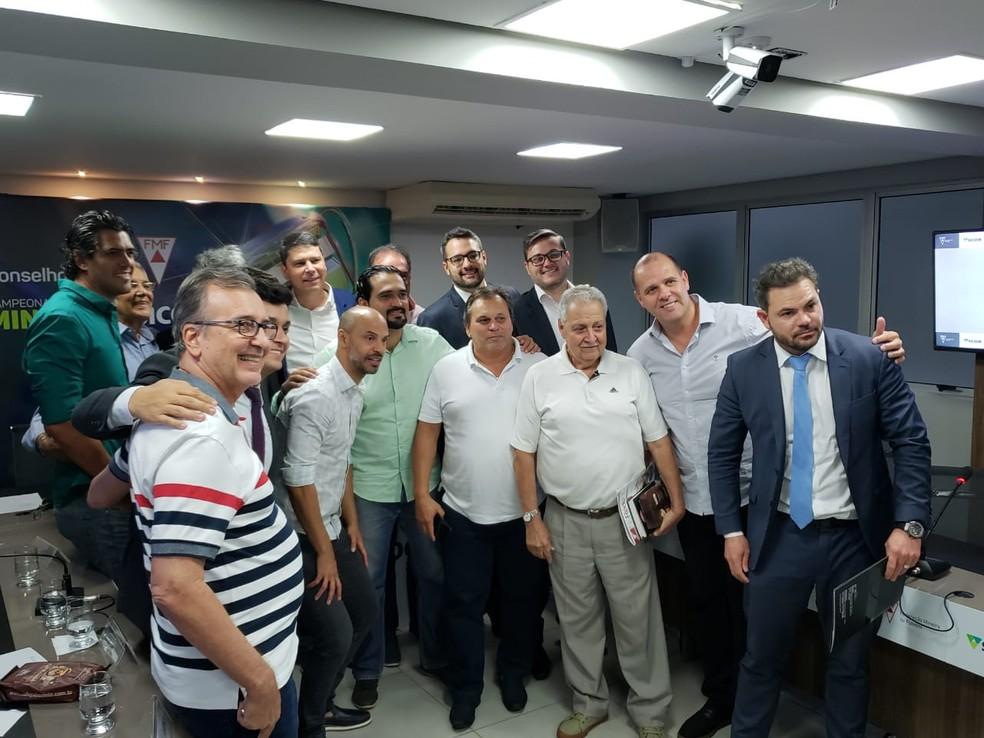 Representantes dos 12 clubes para o Arbitral do Módulo I de 2020, na FMF — Foto: Frederico Ribeiro