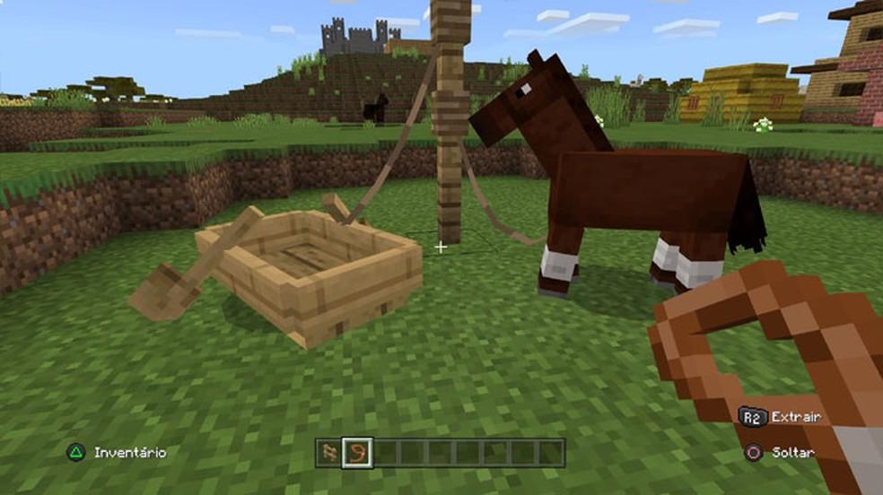 Cercas também podem ser usadas no Minecraft em conjunto com o Laço para amarrar animais e barcos — Foto: Reprodução/Rafael Monteiro