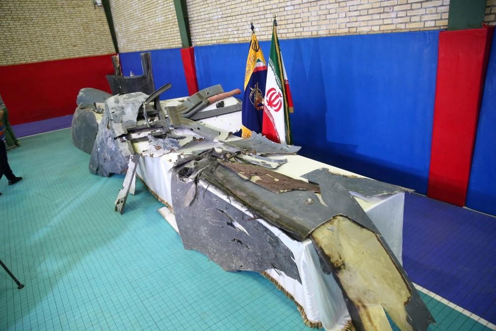 Destroços de drone americano abatido pelo Irã, de acordo com a Guarda Revolucionária — Foto: Divulgação