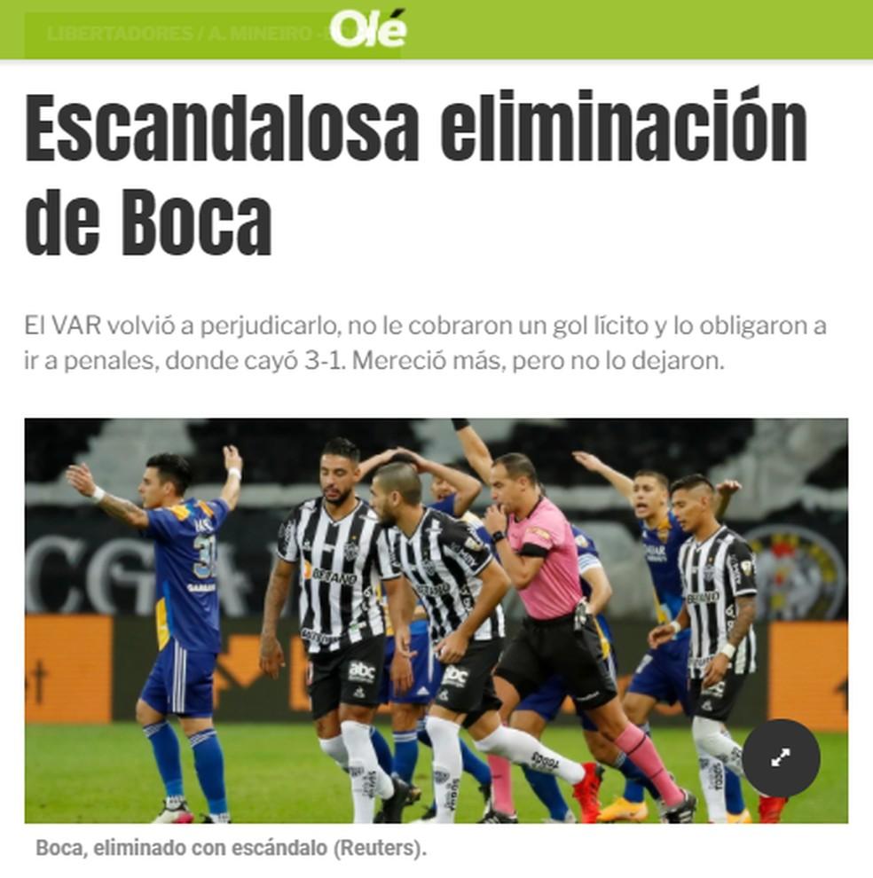 Jornal Olé chama de