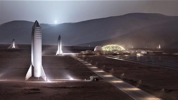 Mars Base Alpha, projeto da SpaceX para estação em Marte (Foto: Reprodução/Twitter)