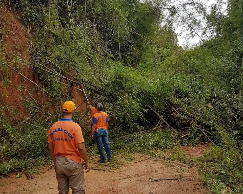Chuva causa transtornos e deixa Defesa Civil em estado de atenção em Trajano de Moraes, no RJ — Foto: Divulgação/Defesa Civil de Trajano de Moraes