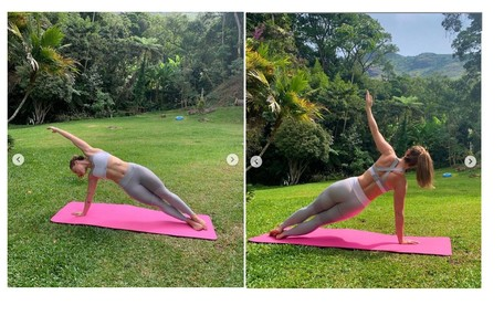 A artista também usa a área externa para fazer yoga Reprodução/Instagram