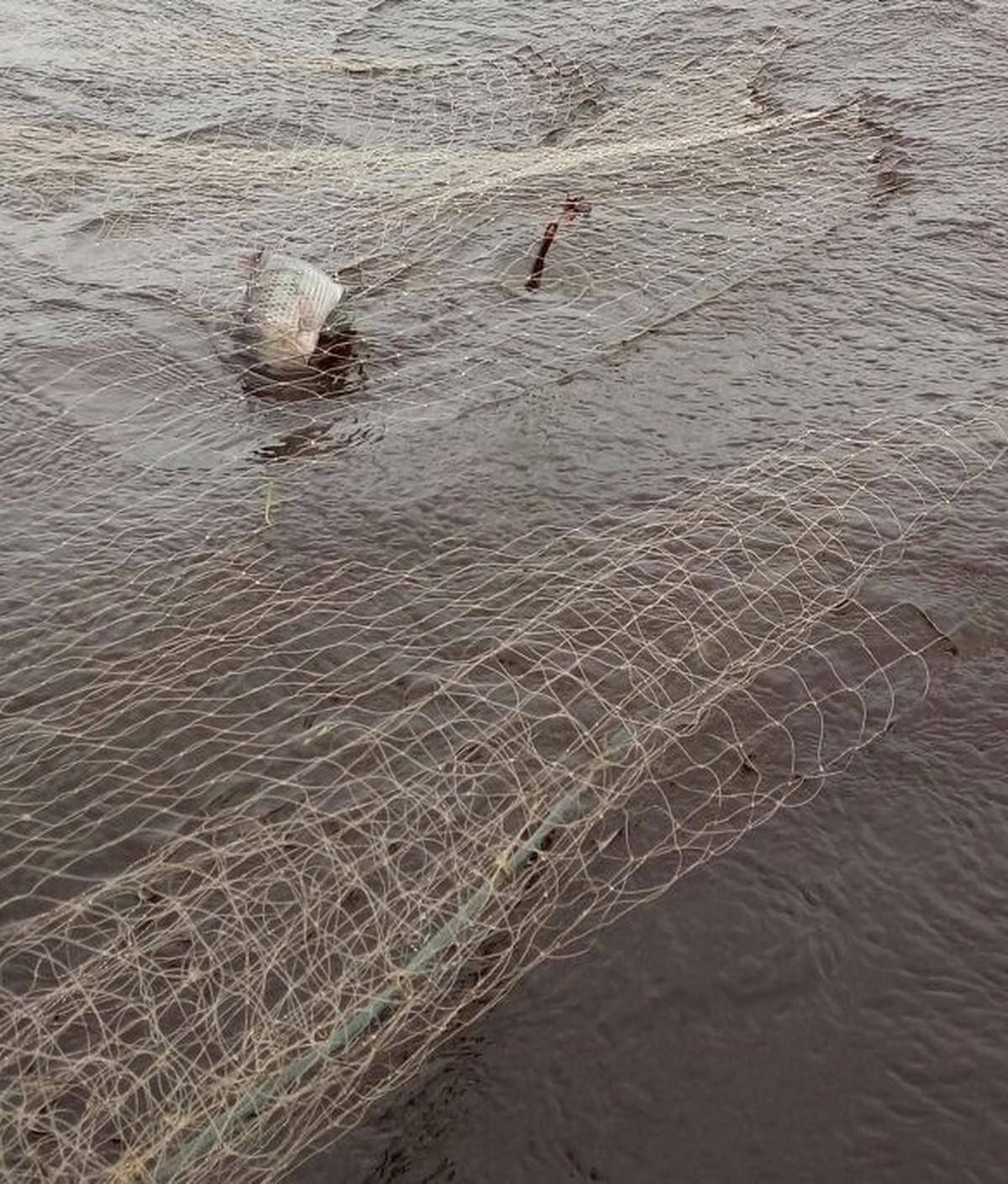 Polícia Ambiental apreende 300 metros de rede de pesca e uma tarrafa em Campos, no RJ