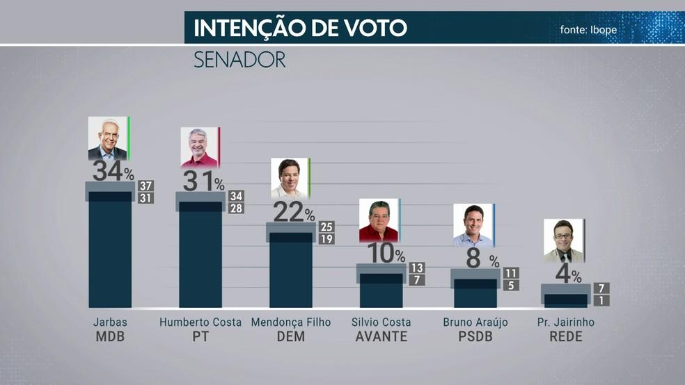Pesquisa Ibope em Pernambuco mostra intenção de voto para senador — Foto: Reprodução/TV Globo
