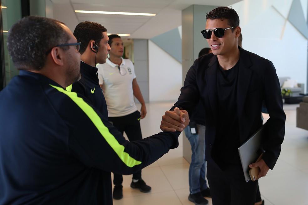 Thiago Silva se apresenta à seleção brasileira (Foto: Lucas Figueiredo/CBF)