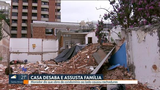 Casa desaba e assusta família em Moema, na zona sul.