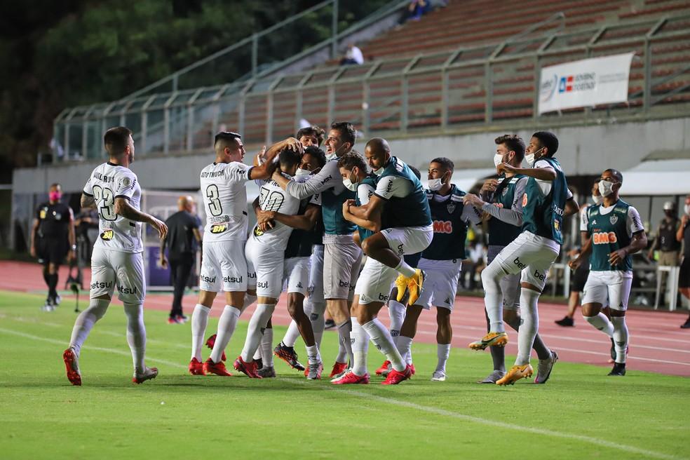 Jogadores do Atlético-MG comemoram gol marcado contra o Bahia — Foto: Pedro Souza/Atlético-MG