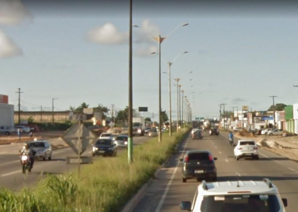 BR-101 em Parnamirim será parcialmente interditada — Foto: Google Street View