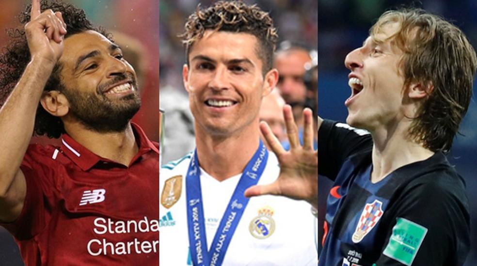 O egípcio Salah, o português Cristiano Ronaldo e o croata Modric — Foto: GloboEsporte.com