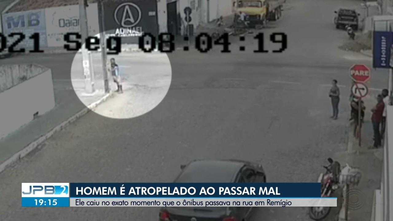 Vídeo mostra momento em que homem é atropelado por ônibus em Remígio, no Brejo da Paraíba