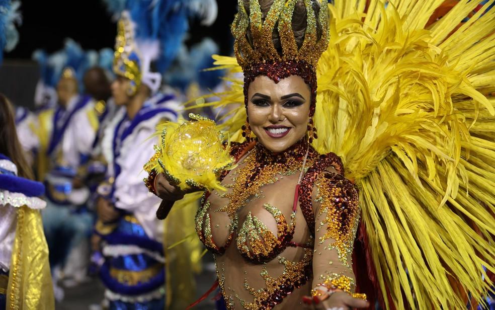 Andrea Capittulion, a rainha de bateria da Acadêmicos do Tatuapé (Foto: Marcelo Brandt/G1)