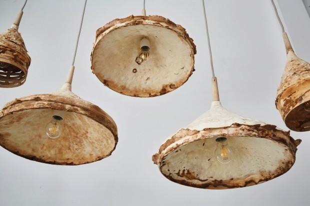 Produto. A série chamada Mycelium + Timber traz luminárias feitas de cogumelos e resíduos de madeira que ganham uma textura semelhante à da camurça (Foto: Petr Krejci Photography / Divulgação)