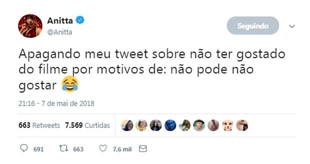 Anitta dá spoilers de Vingadores: Guerra Infinita (Foto: Reprodução/Twitter)