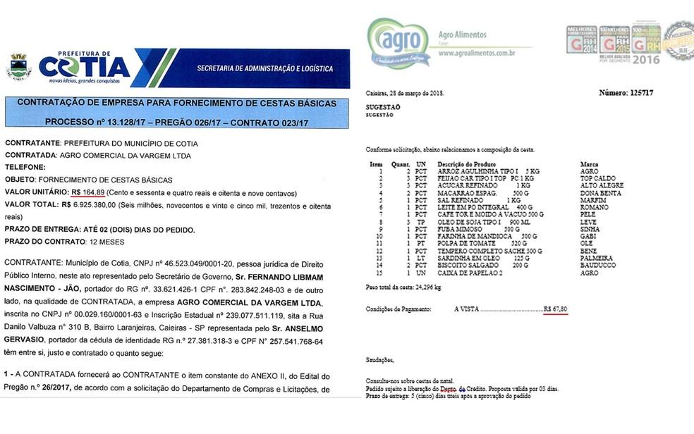 Contrato da Prefeitura de Cotia (à esq.) a R$ 164,89 a unidade; em outro orçamento da mesma empresa a unidade sai a R$ 67,80 (Foto: Reprodução/TV Globo)