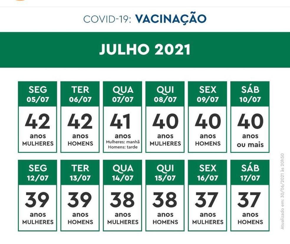 Calendário de vacinação no Rio — Foto: Reprodução