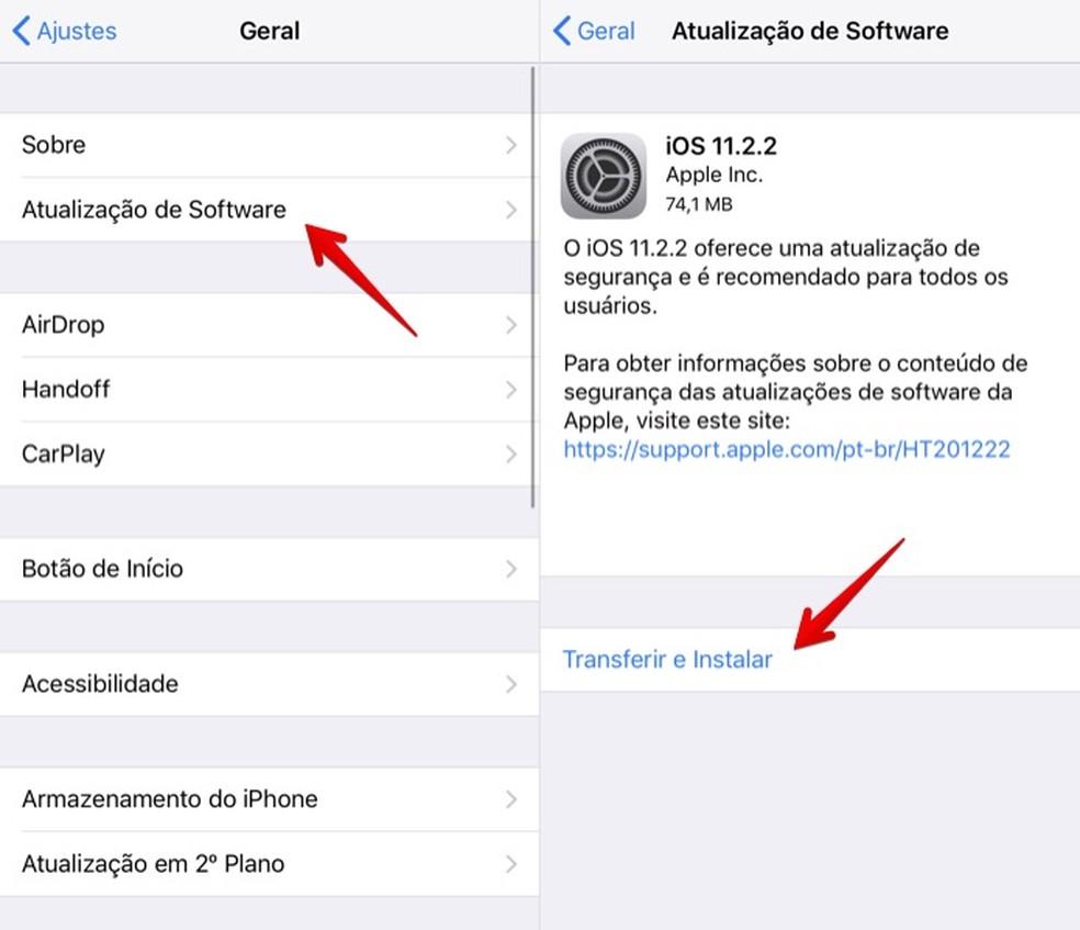 Baixando o iOS 11.2.2 (Foto: Reprodução/Helito Bijora)