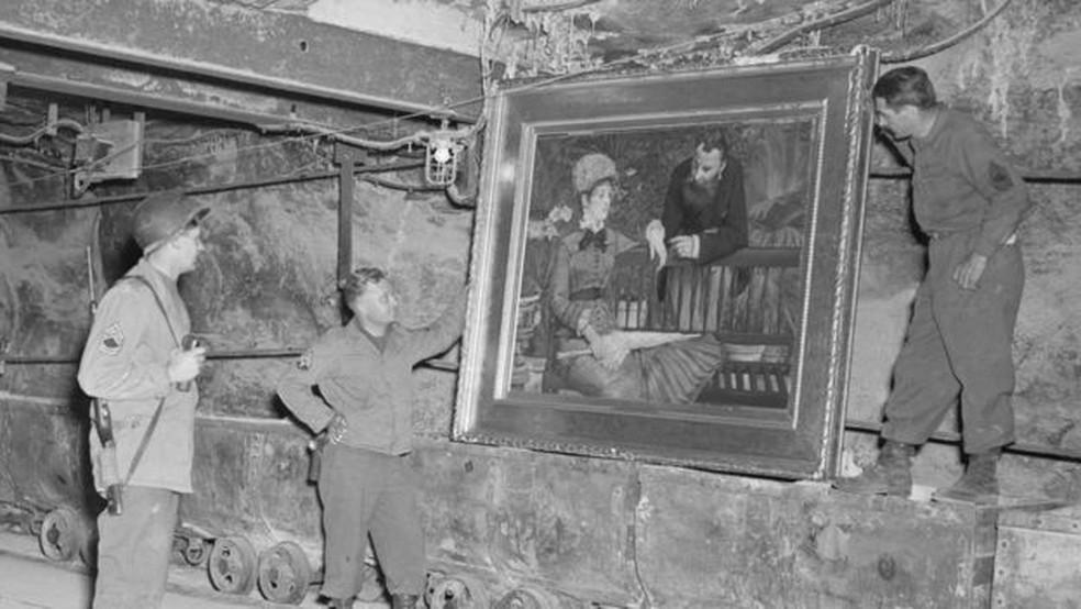 Quadro do impressionista Edouard Manet descoberto em Merkers — Foto: National Archives/BBC