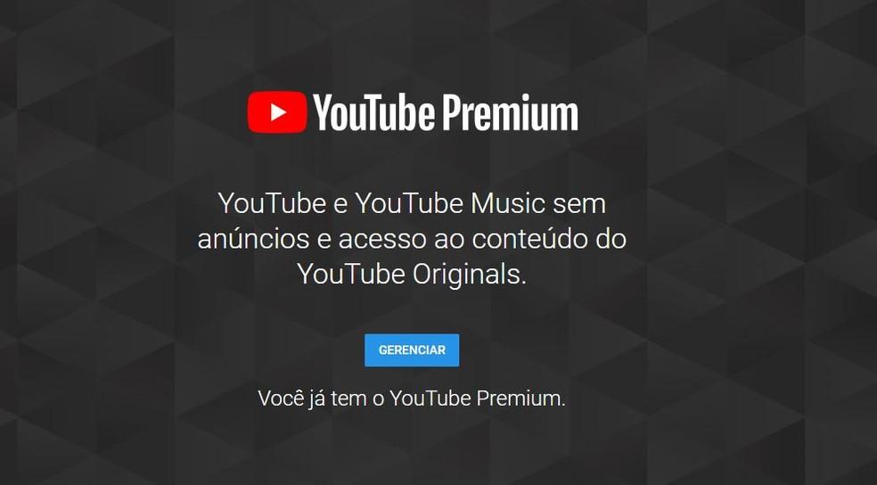 a7a94693a ... YouTube Premium chegou ao Brasil e oferece recursos exclusivos — Foto   Reprodução  Taysa Coelho