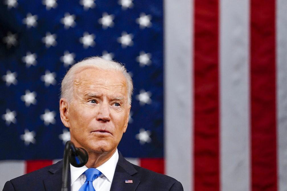Joe Biden, presidente dos EUA, discursa nesta quarta (28) em sessão conjunta no Congresso — Foto: Melina Mara/The Washington Post via AP, Pool