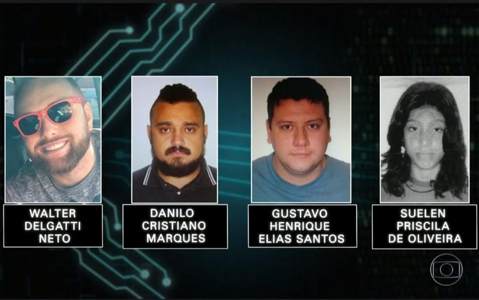 4 suspeitos de ataque hacker foram presos pela PF — Foto: Reprodução/TV Globo