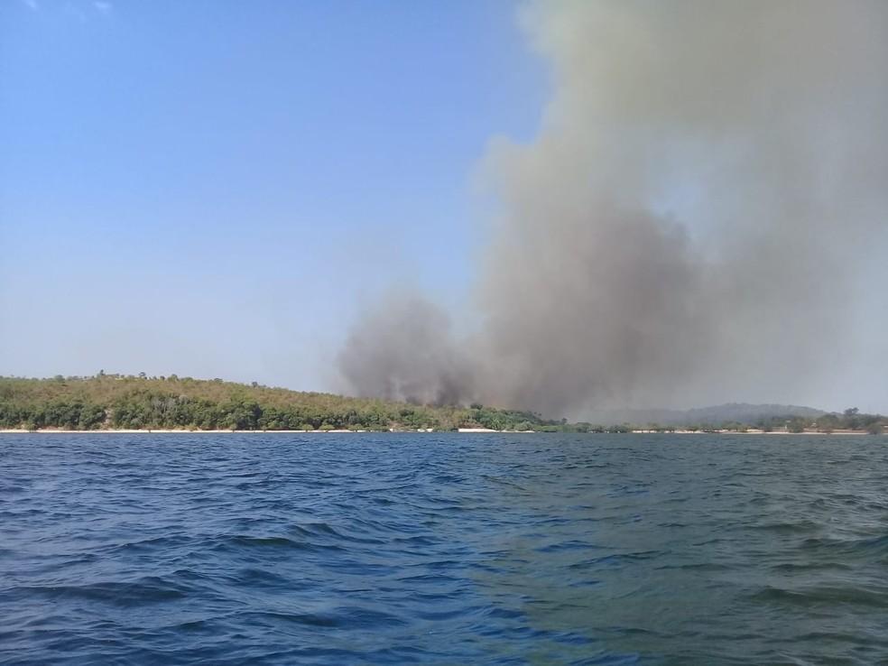 Novo foco de incêndio na comunidade Pindobal, na APA em Alter do Chão ? Foto: Reprodução/Redes Sociais
