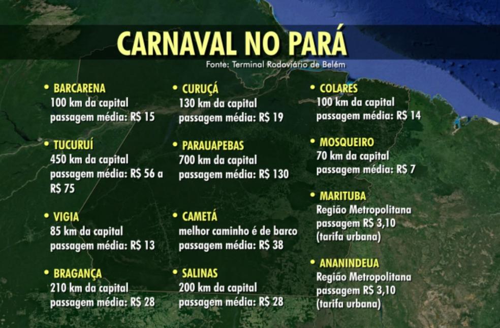 Mapa do Carnaval do Pará 2018 (Foto: Arte: Diego Negrão/TV Liberal)