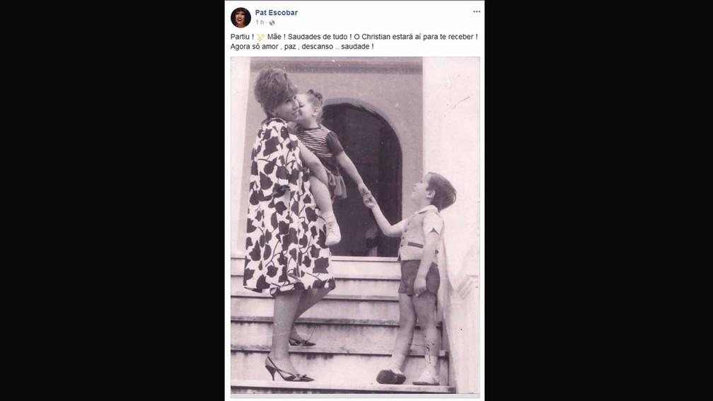 Filha de Ruth, a cantora e atriz Pat Escobar, lamentou a morte da mãe em sua página no Facebook (Foto: Reprodução/Facebook)