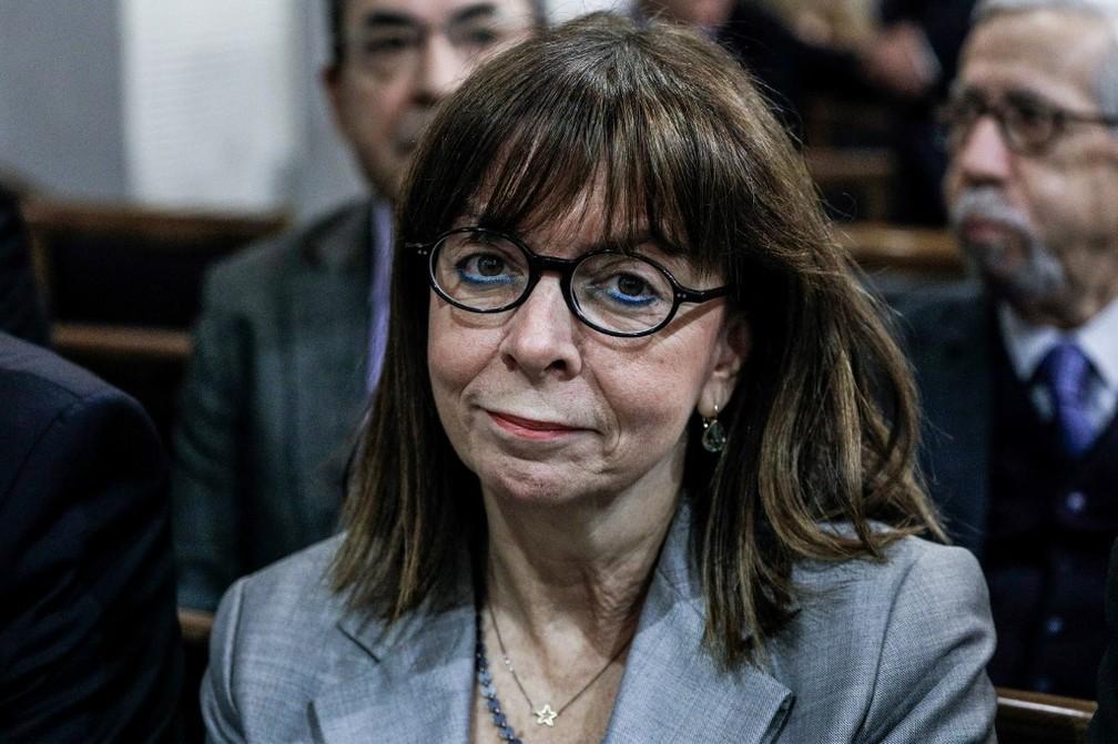 Ekaterini Sakellaropoulou, que foi eleita presidente pelo Parlamento da Grécia, em imagem de 8 de dezembro de 2019 — Foto: Eurokinissi / AFP