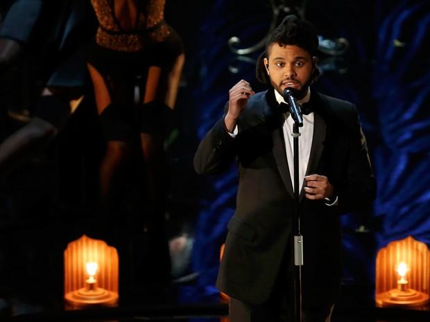 The Weeknd canta a canção indicada 'Earned it' no Oscar 2016 (Foto: REUTERS/Mario Anzuoni)
