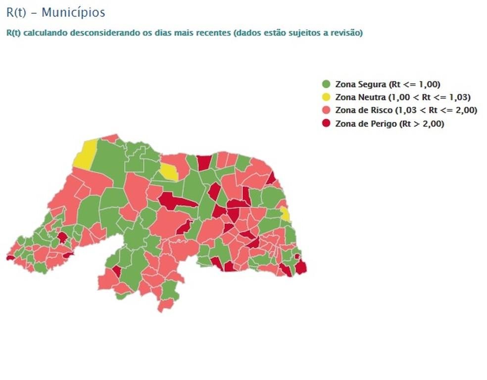 Taxa de transmissão nos municípios do RN — Foto: LAIS/UFRN