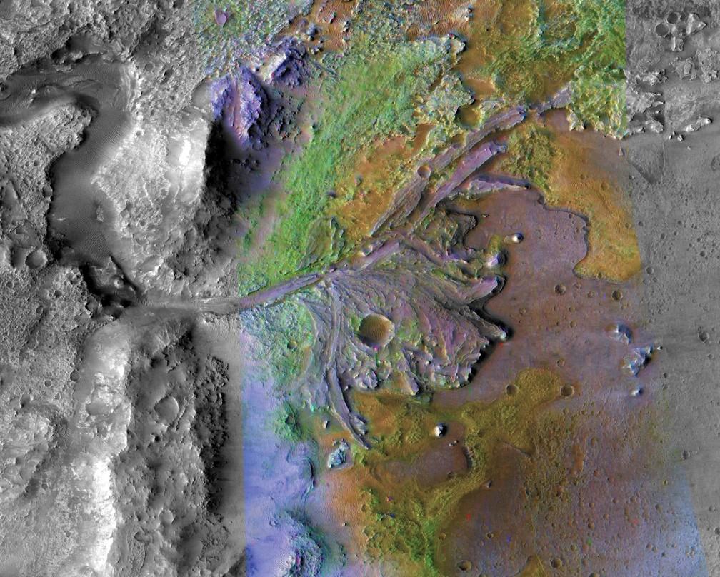 Cratero Jezero em Marte é o local escolhido para pouso de nova missão da Nasa — Foto: NASA/JPL/JHUAPL/MSSS/Brown University
