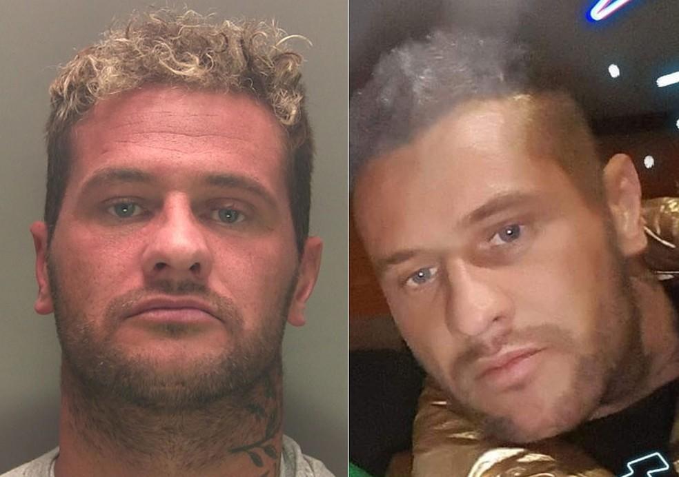 Stephen Murphy na foto divulgada pela polícia (à esquerda) e na que ele sugeriu — Foto: Lincolnshire Police e Stephen Murphy/Facebook
