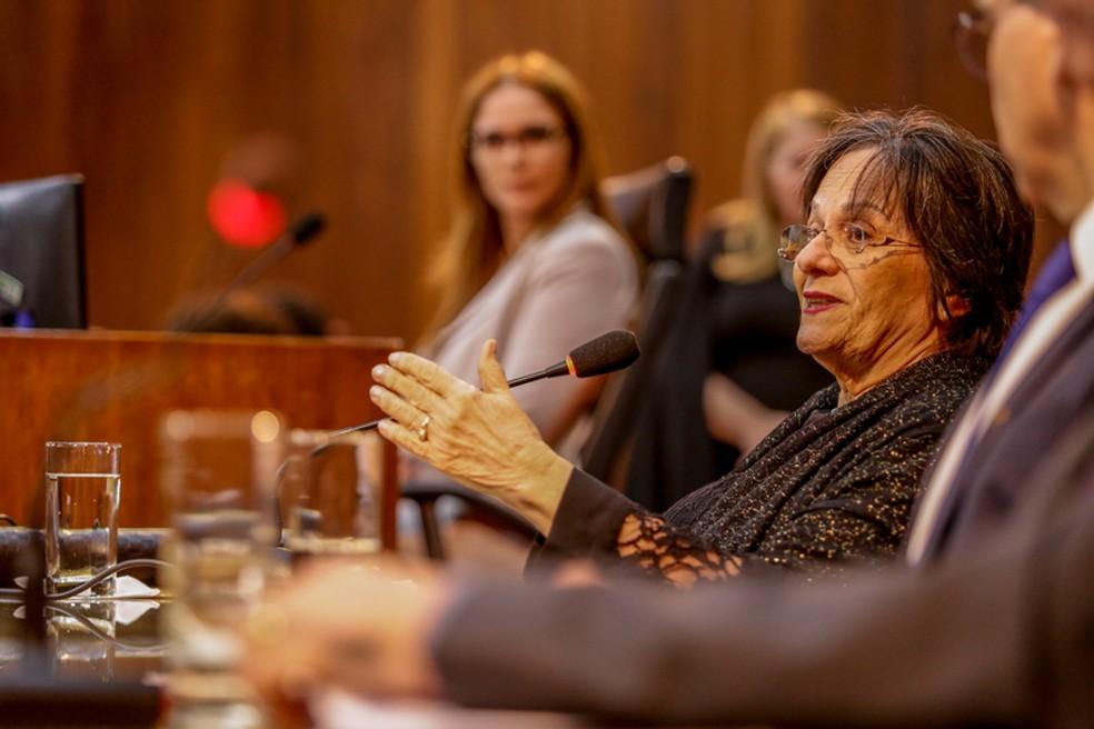 Maria da Penha ressaltou a importância da fiscalização dos crimes de violência doméstica — Foto: Thiago Amaral/Alepi