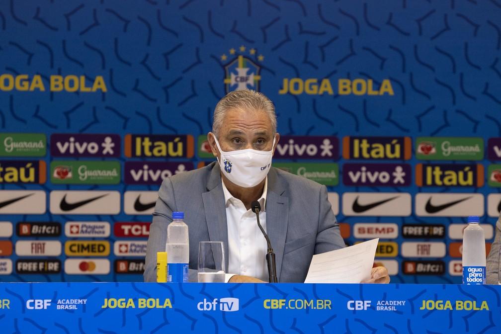 Tite anunciou lista de convocados da seleção brasileira para jogos das Eliminatórias — Foto: Lucas Figueiredo / CBF