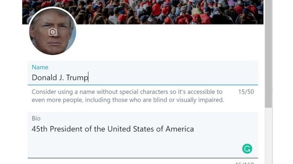 Gevers divulgou captura de tela em que aparentemente poderia editar informações do perfil de Trump — Foto: Arquivo pessoal/BBC