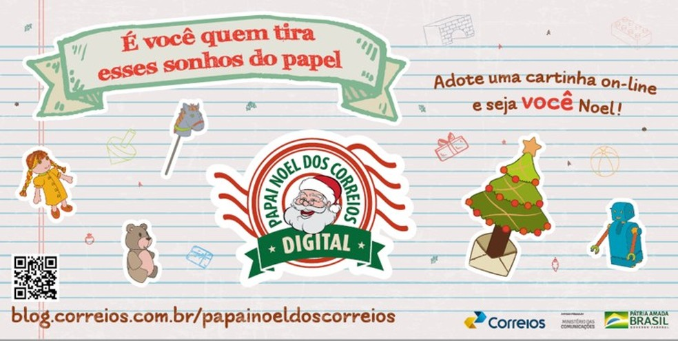 Cartinhas para o Papai Noel dos Correios devem ser enviadas online — Foto: Ascom/Correios