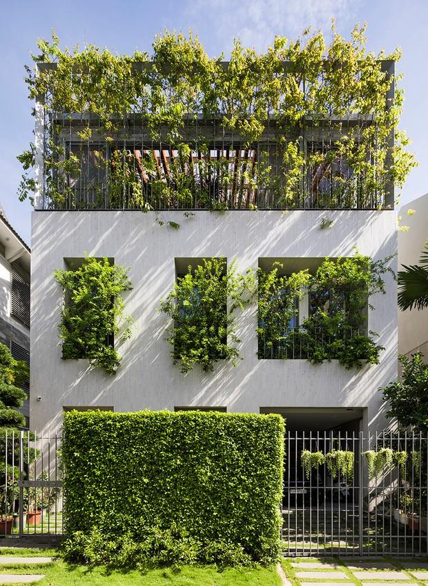 As heras instaladas nas janelas da fachada filtram a luz do sol, enquanto o telhado aberto oferece iluminação natural (Foto: Hiroyuki Oki/ Dezeen/ Reprodução)