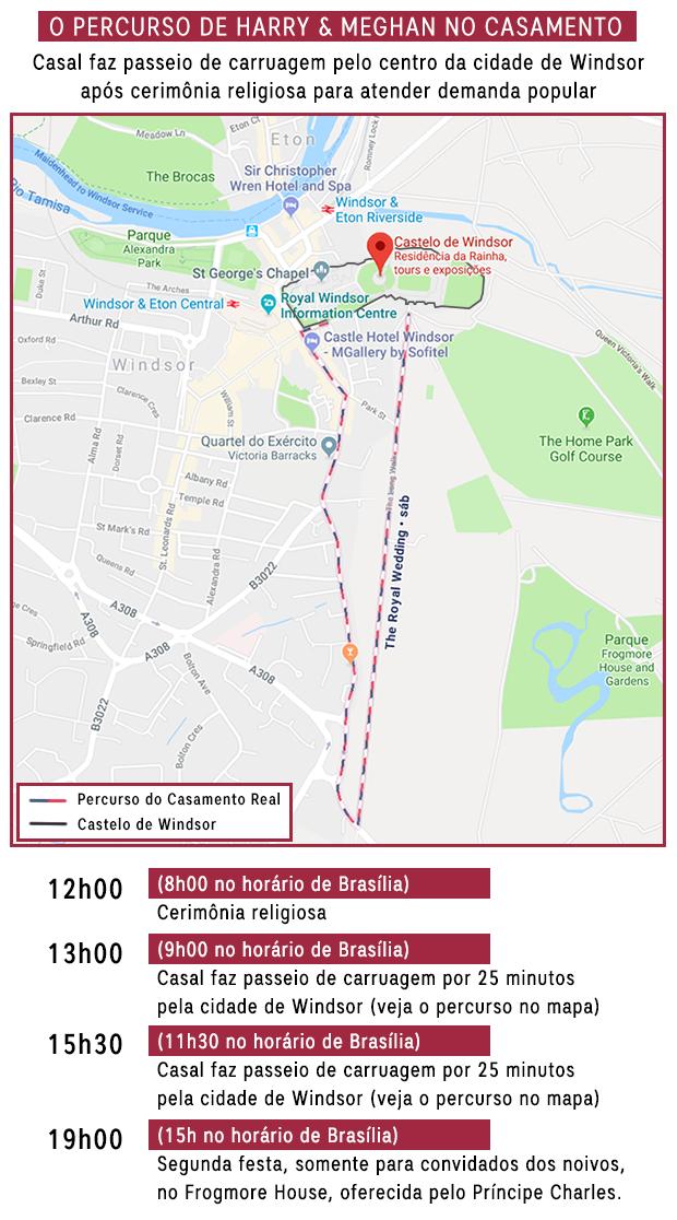Percurso do Casamento Real Infográfico (Foto:  )