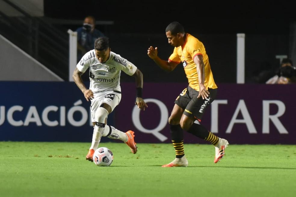 Marinho teve atuação apagada em Santos x Barcelona-EQU — Foto: Ivan Storti/Santos FC