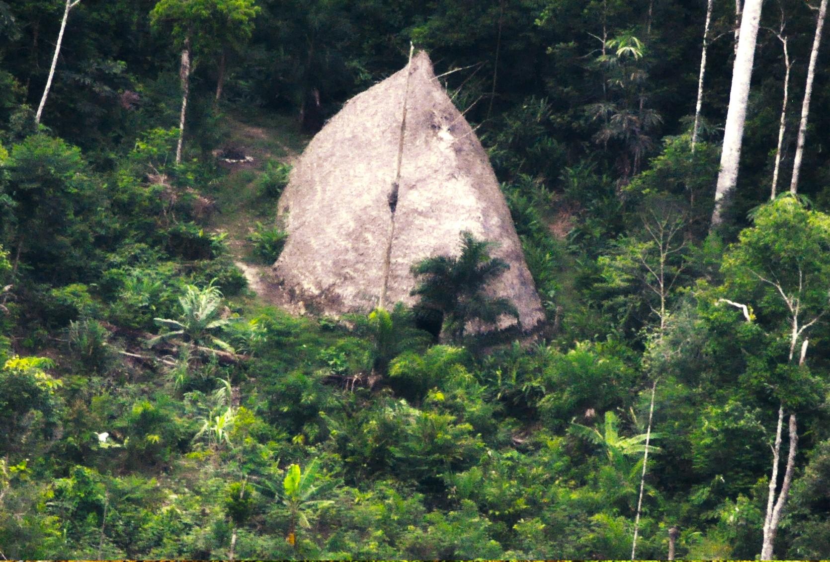 Uma das malocas encontradas pela Funai (Foto: Divulgação/Funai)