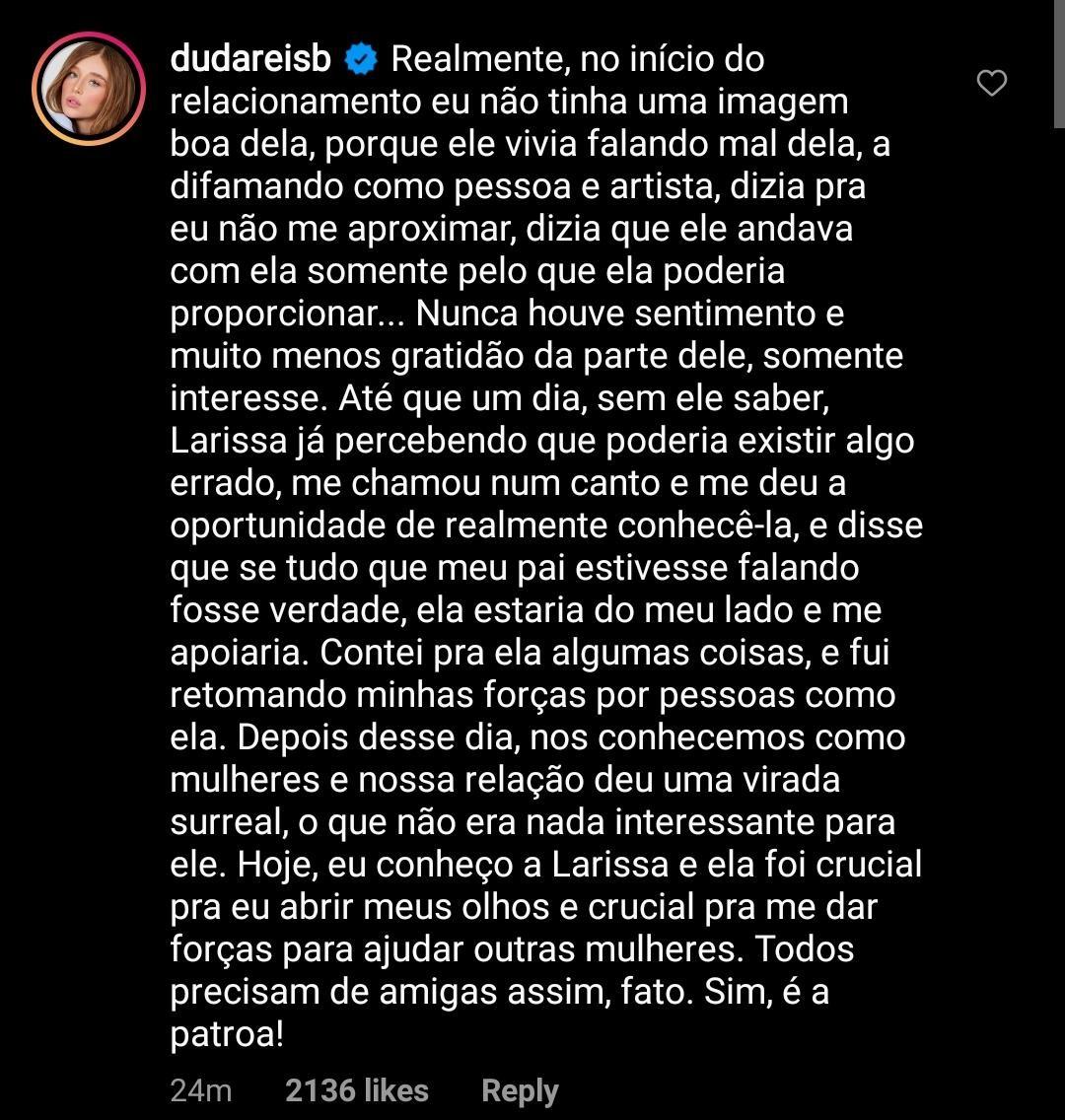 Duda Reis fala sobre Anitta (Foto: Reprodução/Instagram)